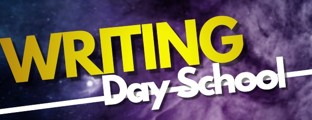 Writing Day School Banner. Purple Galaxy Background with text.